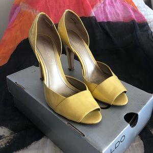 Yellow peep-toe Aldo heels